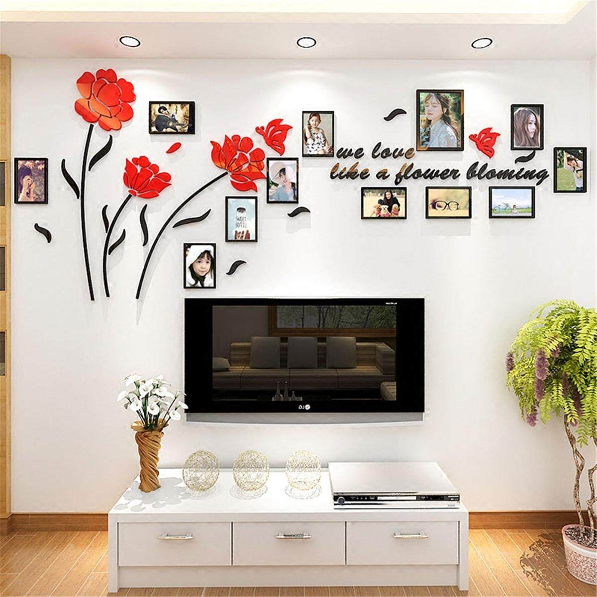 3D Acrylic Family Photo Picture Frame Wall Sticker Art Background Home Decor New Photo Frame Family Set Picture Wall Collage Hanging Decor #150*61