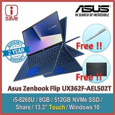 ASUS Laptop Zenbook Flip 13 UX362F-AEL502T 13.3  FHD Touch Royal Blue (i5-8265U,8GB,512GB,Share,Win10) Malaysia