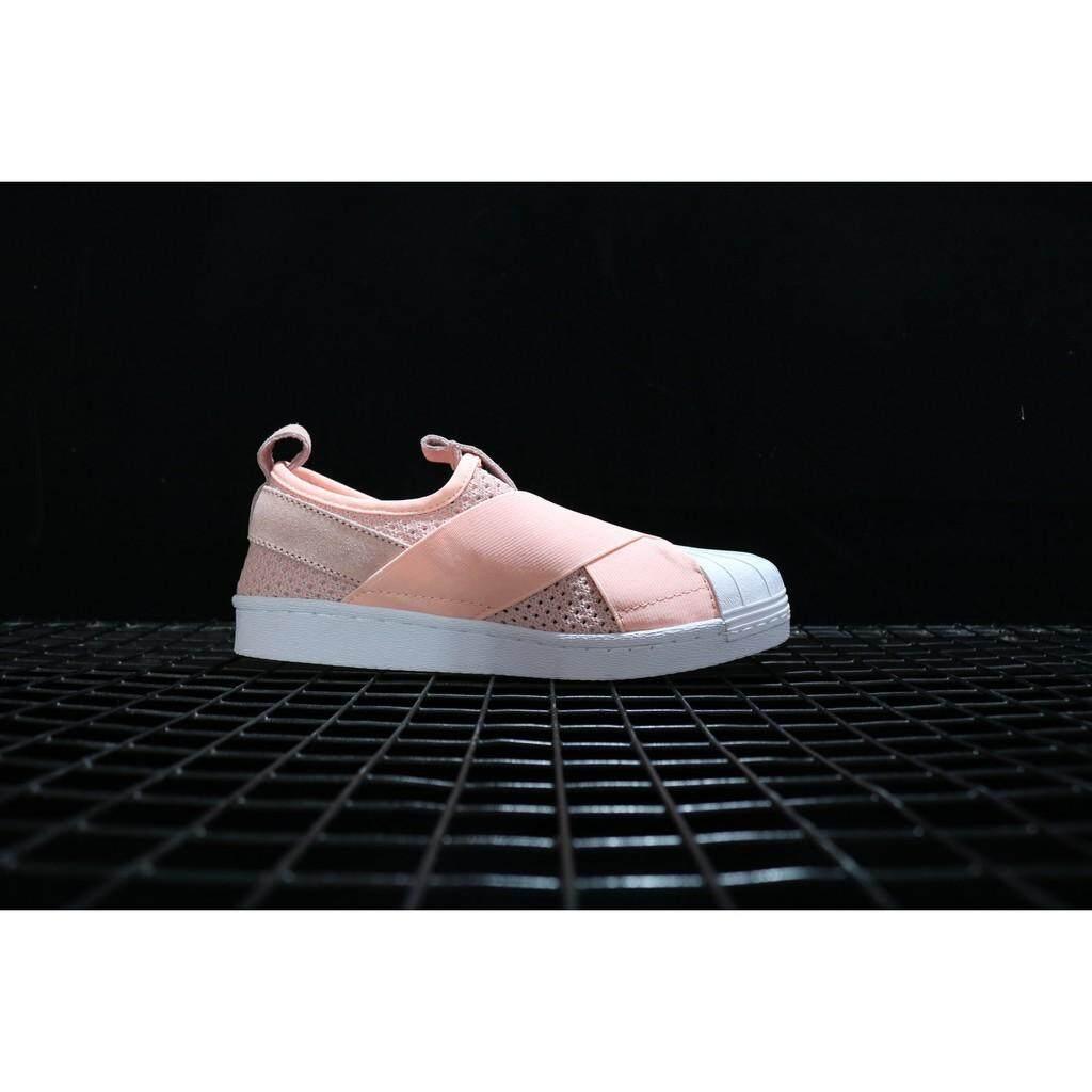 SLK ★ original adidas superstar slip on pink color for womens outdoor breathable shoe