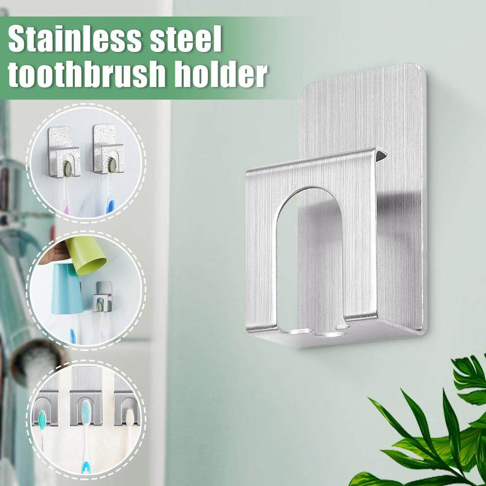 Paste Stainless Steel Cup Toothpaste Toothbrush Holder Wall Mount Bathroom Hook By Ferry.