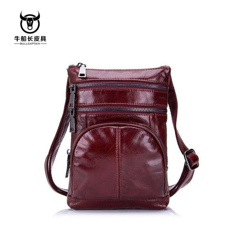 BULL CAPTAIN Fashion Genuine Leather Crossbody Bags men Brand Small Male  Shoulder Bag casual music chest 2496bb045aa61