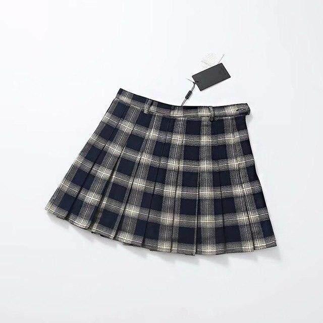 4f1f05d2a5 Las mujeres de cintura alta cuadros línea Mini falda de los estudiantes de  la Universidad faldas