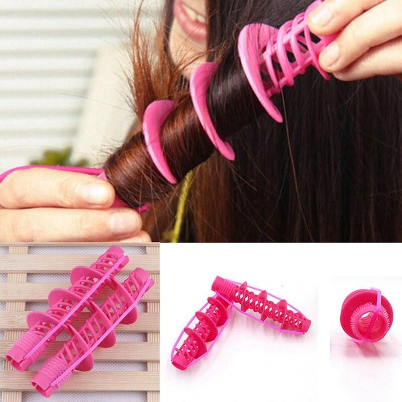 2Pcs Hair Styling Tools Hair Care Natural Big Wave Curls Rollers Curlers Curling Styling Tool cao cấp