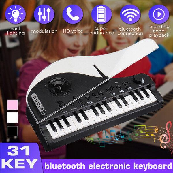 Percuma】 Penghantaran + Super Deal + Terhad Offer】mofun 31 Bluetooth Utama V4.2 Mod Dual Papan Kekunci Elektronik Piano Mainan dengan Induksi fungsi Cahaya Malam untuk Kanak-Kanak-Hitam Malaysia