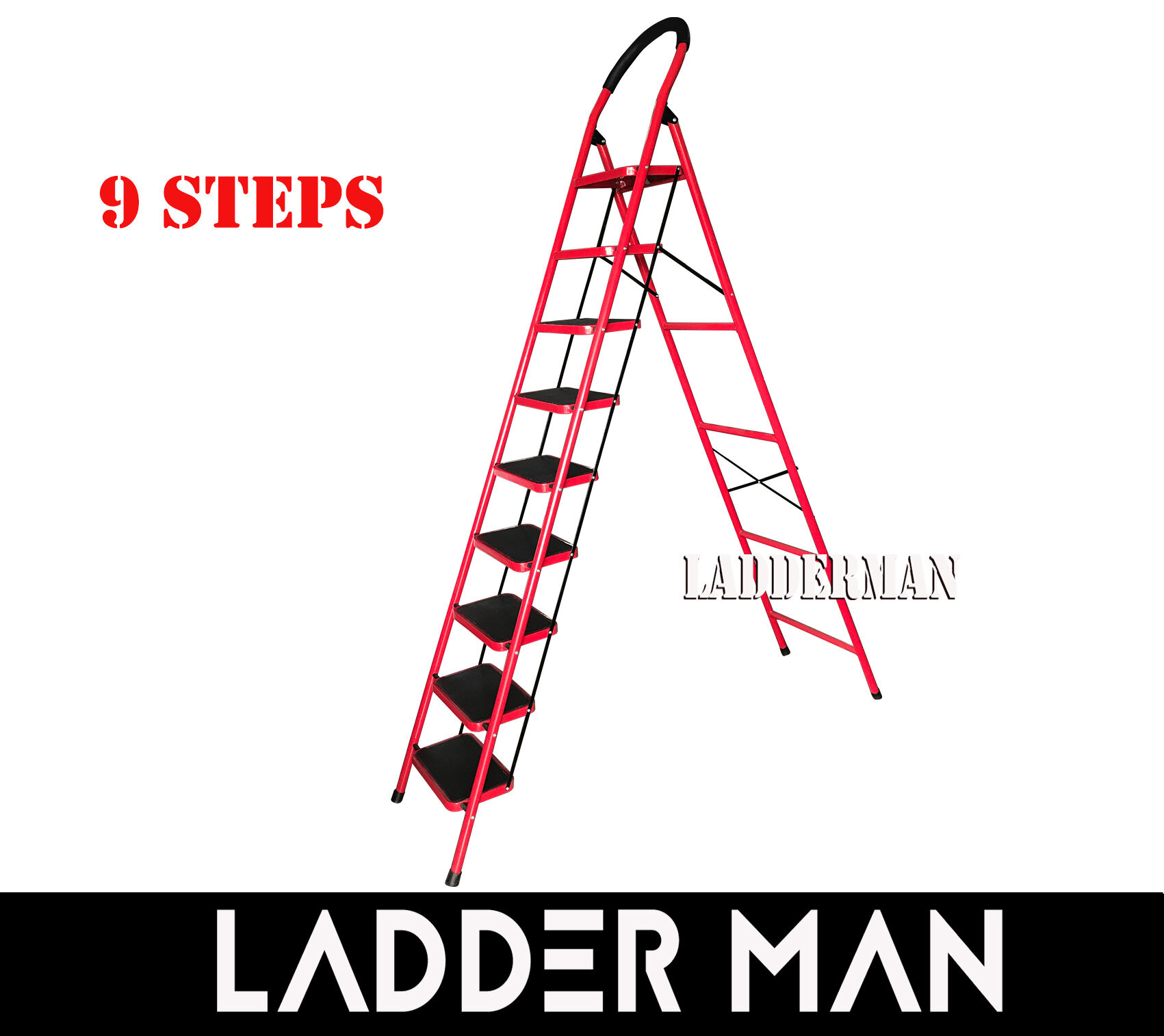 Heavy Duty Foldable 9 Step Stool Ladder with Hand Grip