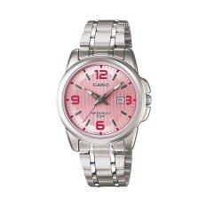 Casio LTP-1314D-5AV Silver Pink Stainless Steel Watch Ladies Malaysia