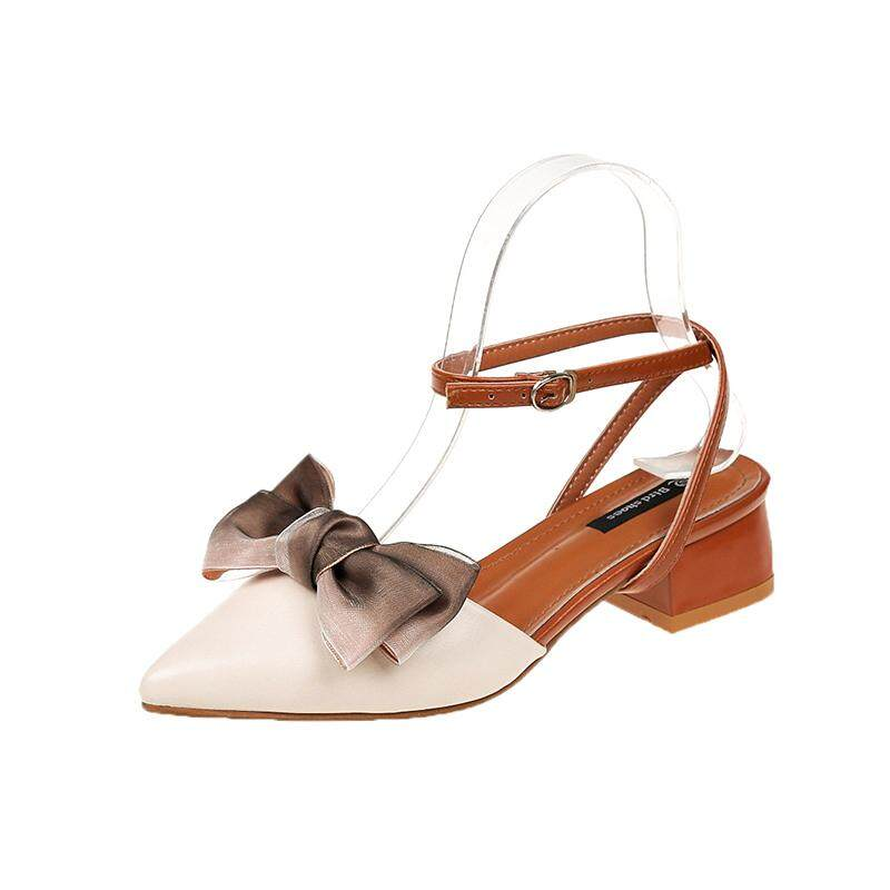 d61304b4bebd TLL Women Fashion Beauty City Pointed Toe Ankle Strap Heeled Sandals Cute  Bow Low Heel Mules