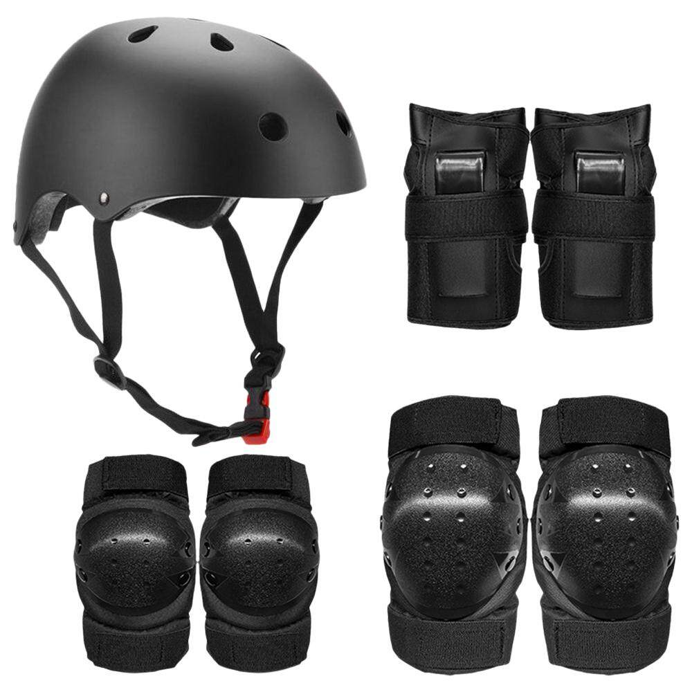 Protective Gear Set 7 in 1 Knee Elbow Pads Wrist Guards Helmet Multi Sports Safety Protection Pads for Kids Teenagers Scooter Skating Cycling L