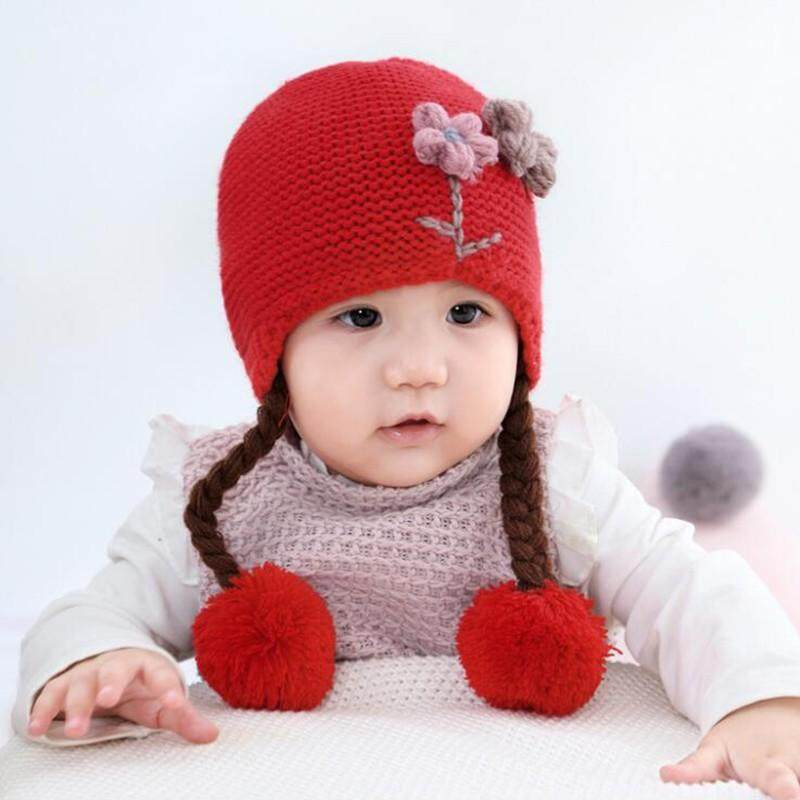 54a1ad49d25 Winter Toddler Baby Girls Flower Pattern Knitting Caps with Ball