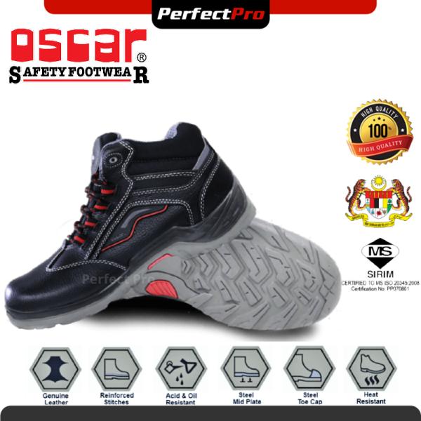 Oscar Supertec E 829 Black Mid Cut Safety Shoe Safety Boot (Super-Tec) Kasut Keselamatan Lelaki Kasut Safety