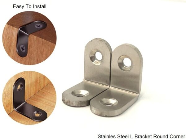2pcs Super Solid Thick Stainless Steel SS304 L Bracket Round Corner For Furniture Hardware