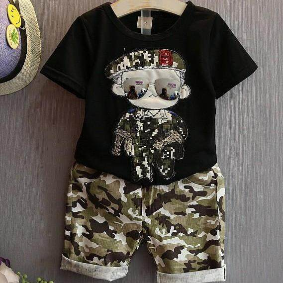 Kids Boys Cool Clothes Short Sleeve T-Shirt Tops + Short Pants Children Summer Clothing 2 Pcs Sets By Ropalia Store.