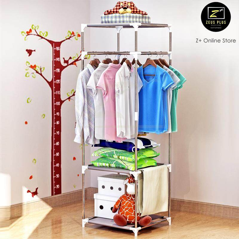 Z PLUS SEN 3 Tiers Portable Open Closet Wardrobe Clothes Shelf Rack Organiser