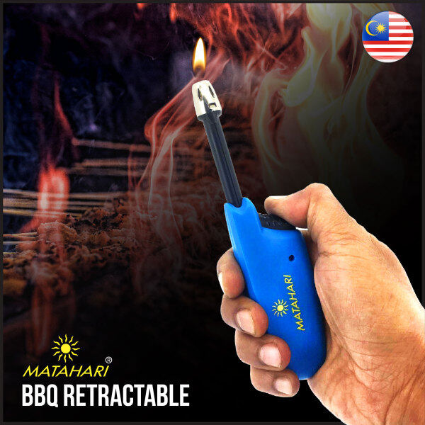 Matahari BBQ Retractable Lighter 5005 Electronic Refillable Adjustable Neck for Camping Fireworks Candle Cooking Lighter (Blue) (1 Unit)
