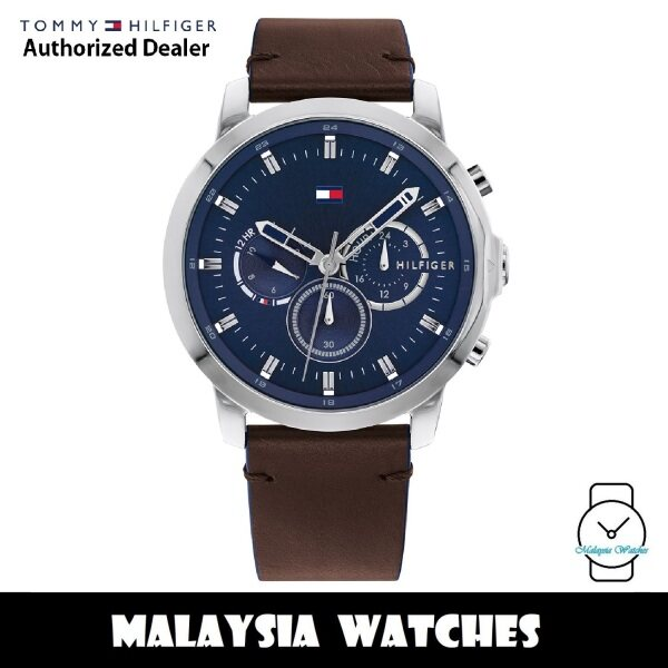 (100% Original) Tommy Hilfiger 1791797 Jameson MultiDial Silver-Tone Stainless Steel Case Brown Leather Mens Watch (2 Years International Warranty) Malaysia