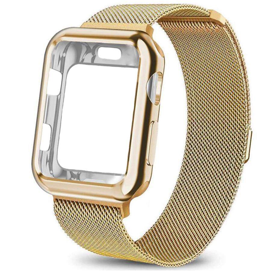 Compatible with Apple Watch Band +Case 38mm 42mm 40mm 44mm , Stainless Steel Mesh Milanese