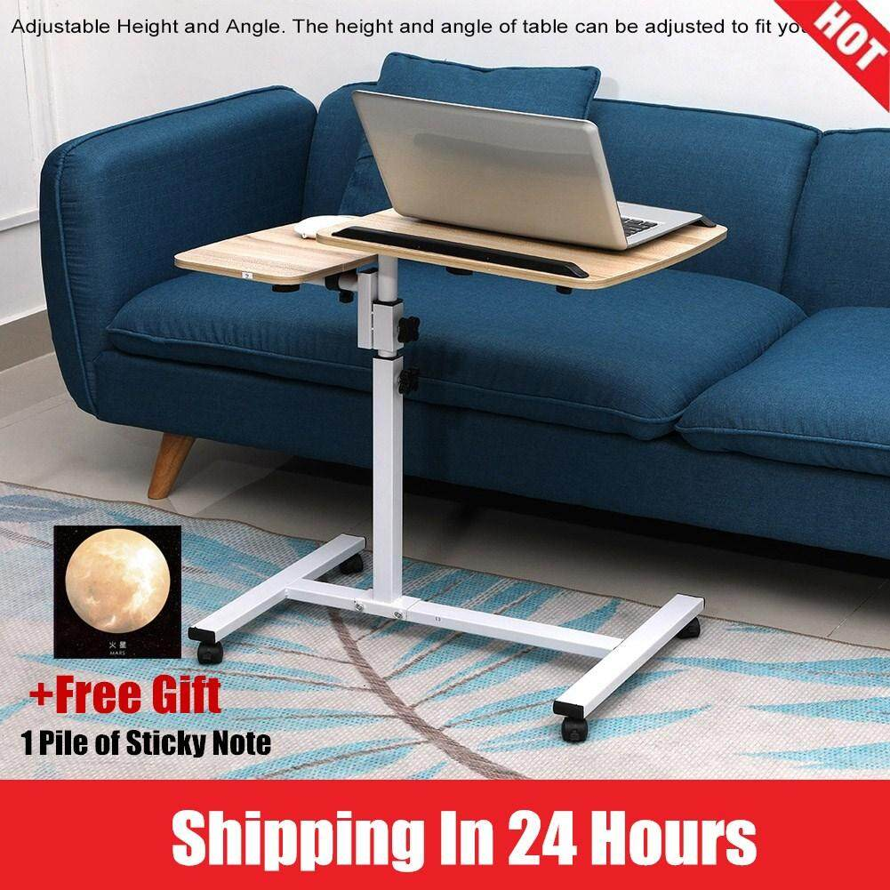 【Free Gift】Height Angle Adjustable Laptop Desk Folding Computer Table Stand Bed with Wheels