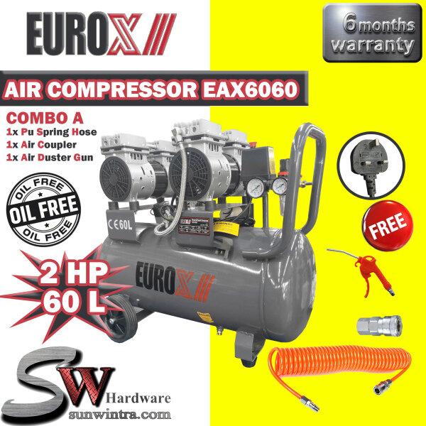 EUROPOWER EUROX OIL LESS 2HP / 60L AIR COMPRESSOR F.O.C PU RECOIL HOSE & Air Blow Gun EAX6060/EAX 6060