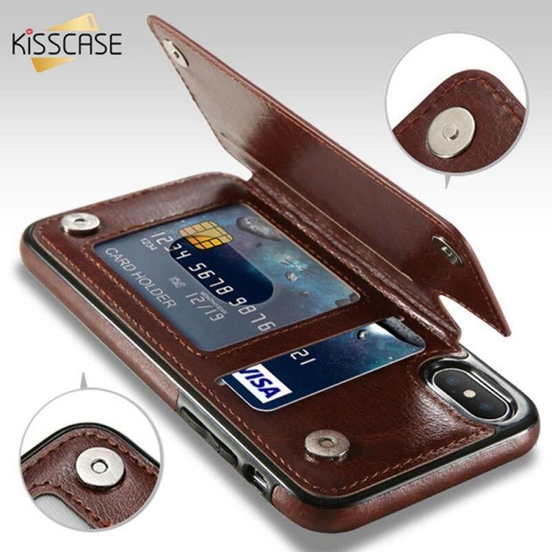Giá Ốp Kisscase Cho Iphone XS Max X XR 7 8 6 6S Plus Ốp Điện Thoại Da PU Cổ Điển Đồ Chứa Nhiều Thẻ