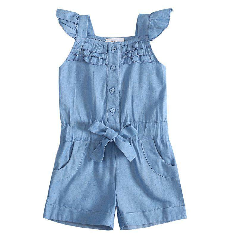03a562daee50c Kids Baby Girls Clothing Rompers Denim Blue Cotton Washed Jeans Sleeveless  Bow Jumpsuit 0-5