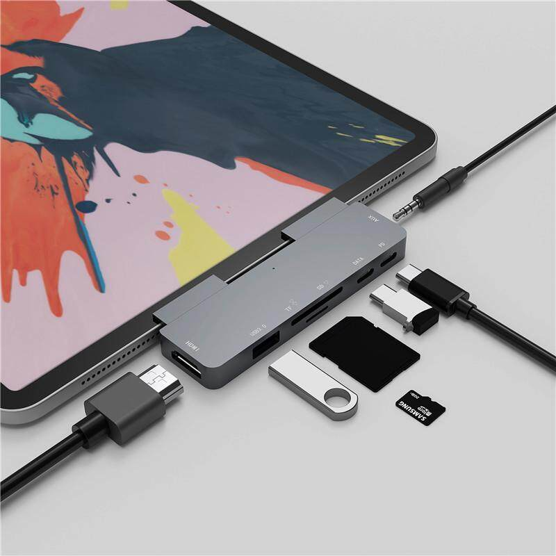 QEVDO USB C HUB HDMI Dock station aluminum alloy for iPad Pro 7-in-1 hub
