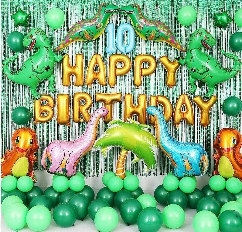 1 Set Dinosaurus Raksasa Balon Foil Anak Laki Laki Balon Hewan Anak Hijau Dinosaurus Pesta Ulang Tahun Jurassic Dunia Dekorasi Ballon
