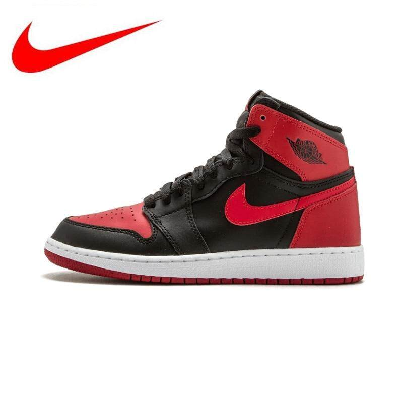 competitive price 2ef8d d6c72 Nike Air Jordan 1 OG Banned Breathable high Men s Basketball Shoes Sports  Sneakers Trainers 575441-