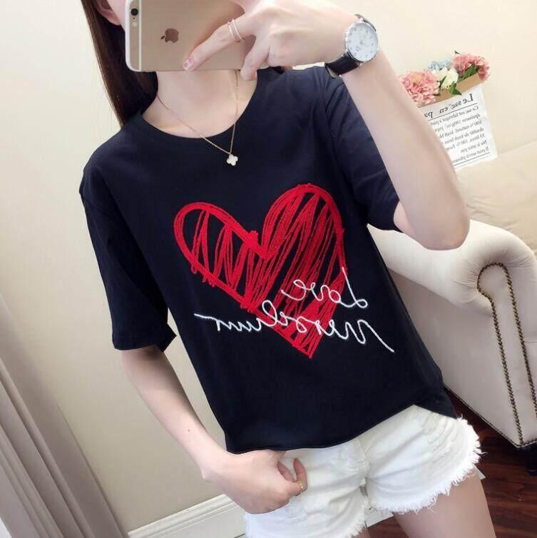 01201f5d1e6 Black t-shirt short-sleeved female ins tide loose Korean version of the  bottoming