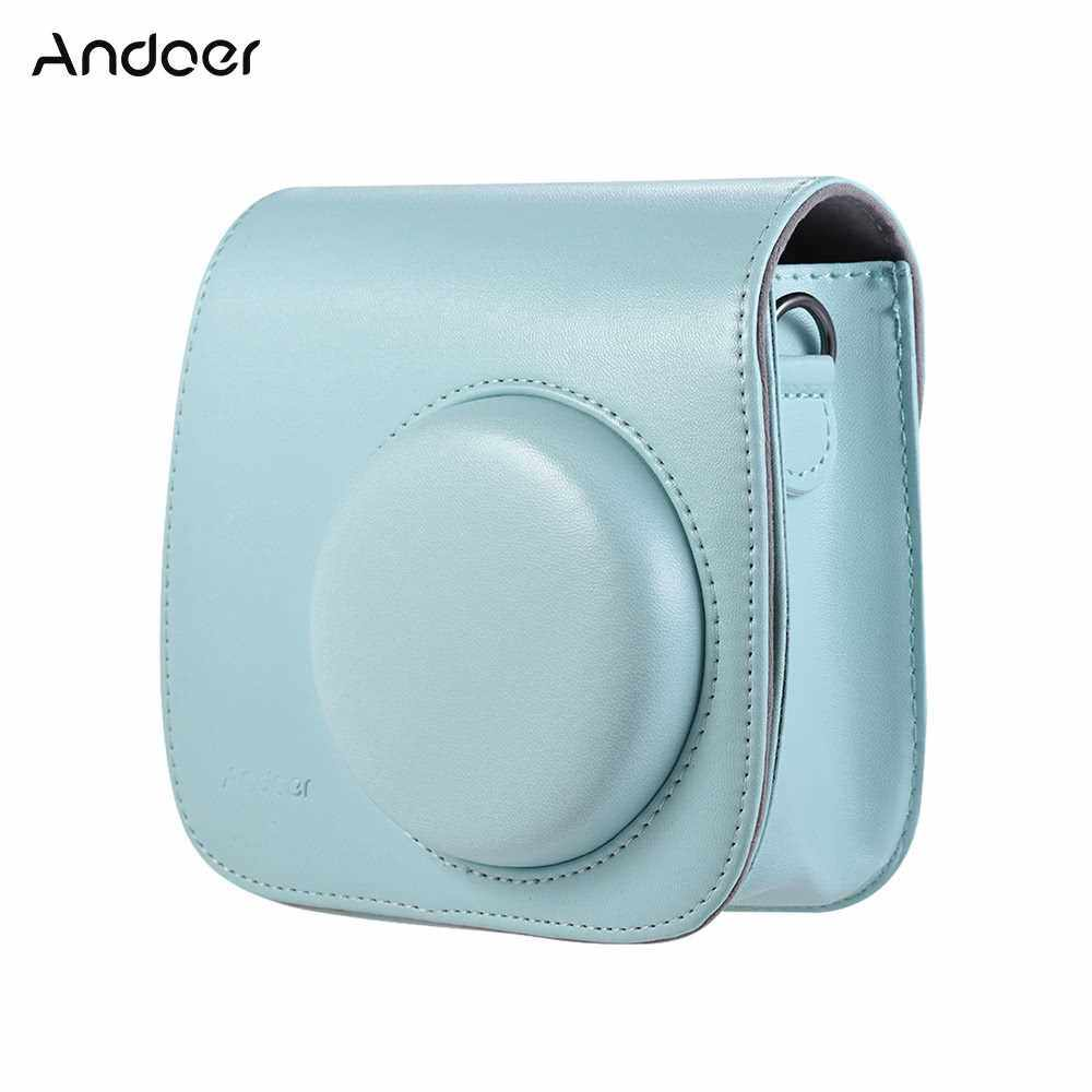 Andoer PU Instant Camera Case Bag with Strap for Fujifilm Instax Mini 9/8/8+/8s Smokey White (Dark Blue)