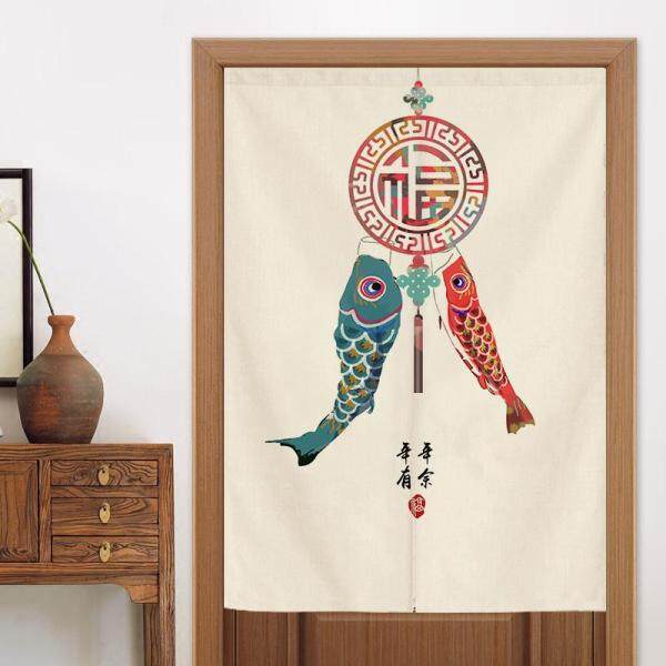 Chinese style blessing Long Door Curtains With rod Bedroom Room Dividers Bathroom toilet Half Door Curtain Decoration Modern kitchen cloth short Door Curtain Window curtain set