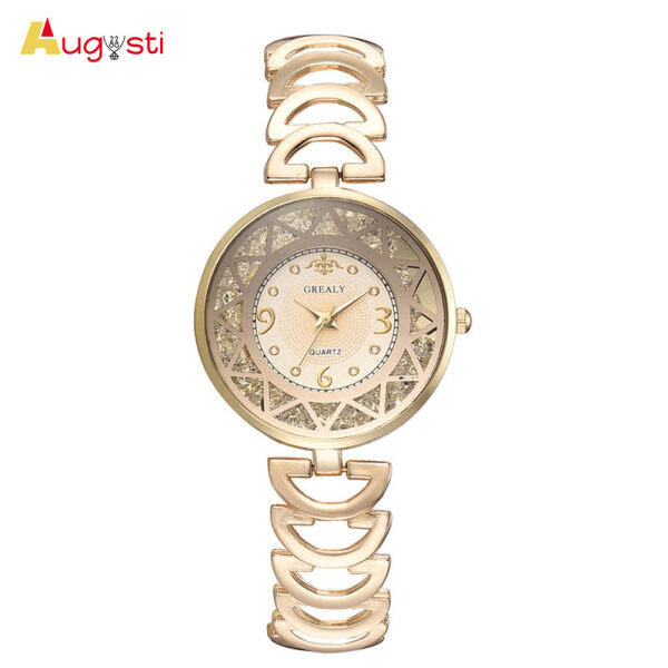 Augusti Women Quartz Watch Round Rolling Beads Dial with Alloy Hollow Band Malaysia