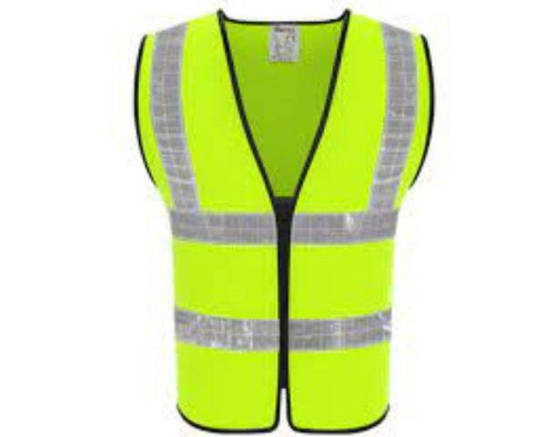 Safety Vest with Zip Enclosure Two Reflective Strip Model 703 (green)