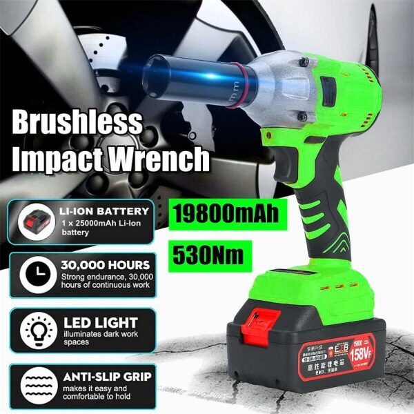530Nm 158VF Cordless Impact Wrench 1/2 Driver with UK Plug Charger and 1x-19800mAh-Li-ion-Battery Anti-slip Grip LED LIGHT