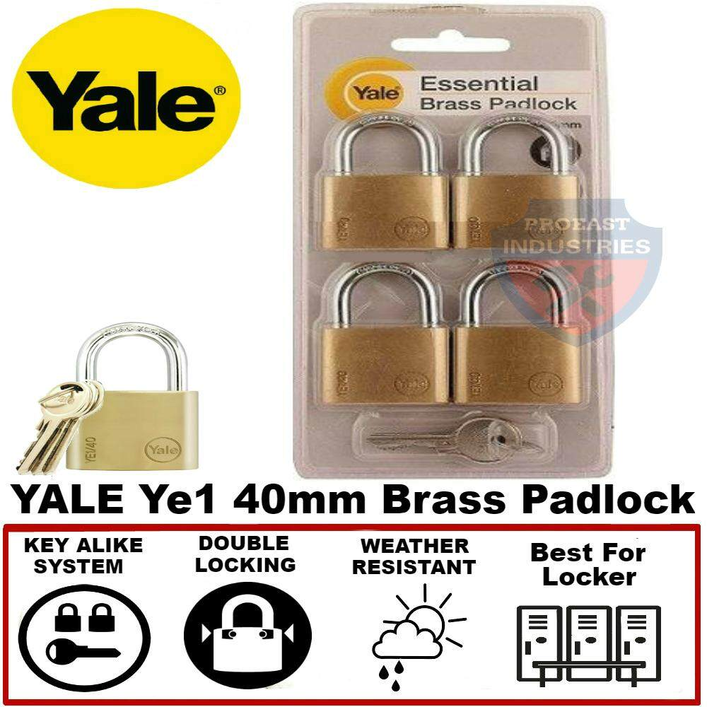 Yale Ye1/40/122/4 40mm Brass Padlock with Key Alike