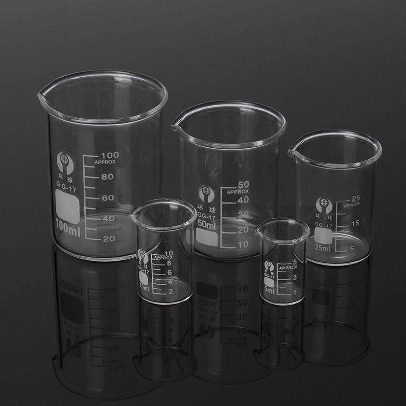 5Pcs 5 10 25 50 100ml Lab Glass Beaker Set Laboratory Measuring Glassware