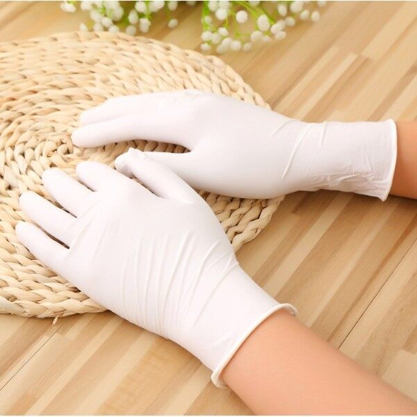 ♛○  Disposable gloves Latex White Dingqing Medical Rubber Food Grade Catering Household Plastic Waterproof Inspection Thicke