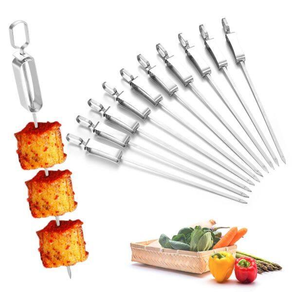 YESMILE 6/10Pcs Long Stainless Steel Reusable BBQ Tools Kebab Sticks BBQ Skewers Barbecue Skewers Roast Fork