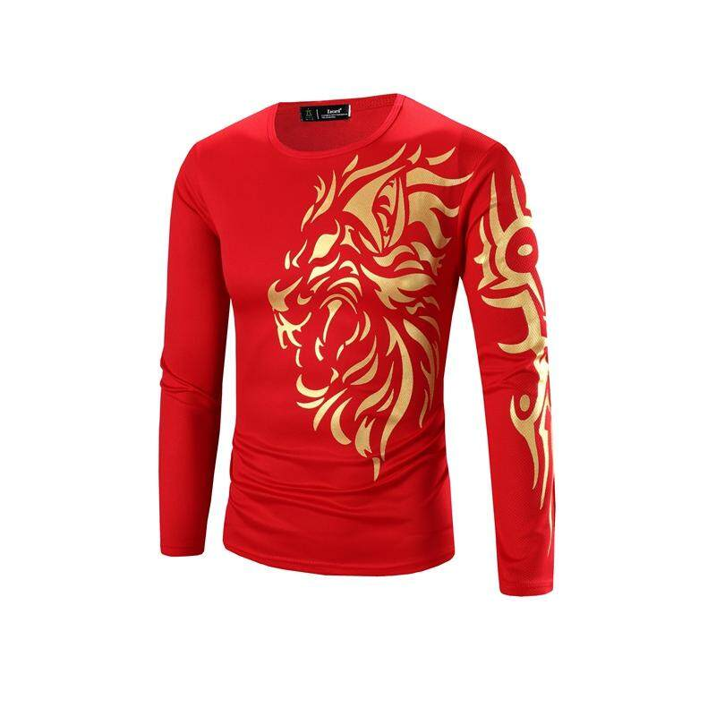 5d7688ce133288 T-shirts Mens Bronzing Dragon Pattern Long sleeve Round neck Men s Clothing  Tops Tees Mens
