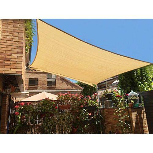 Sunny Guard 12 X 16 Sand Rectangle Sun Shade Sail Uv Block For Outdoor Patio Garden By Cross Border.