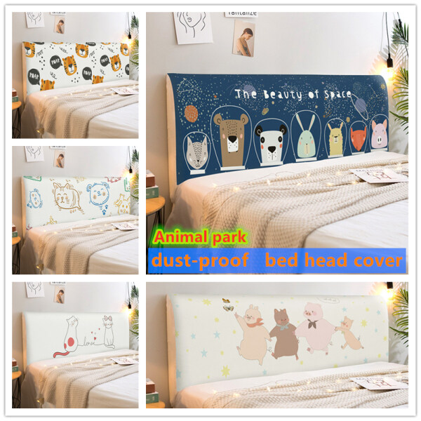 1pcs 2020 NEW Elastic All-inclusive Bed Head Cover Printed Cartoon Bedside Back Protection Dustproof Cover Soft Headboard Covers
