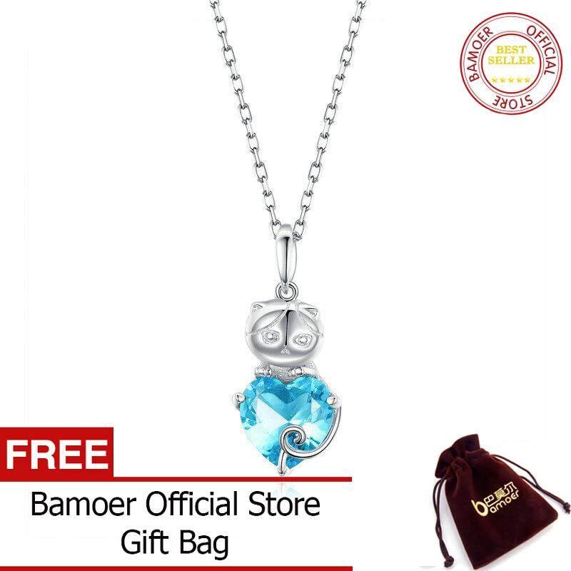 BAMOER MẠ Cát Dây Chuyền Nữ Bạc 925 Xanh Dương Đính Đá Cubic Zirconia Liên Kết Dây Chuyền Vòng Cổ Trang Sức Nữ SCN331