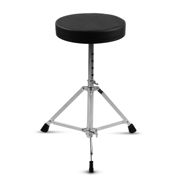 Universal Drum Throne Round Padded Drum Seat Stool Single-braced Stainless Steel Legs Anti-slip 5 Levels Adajustable Height for Adult Drummers