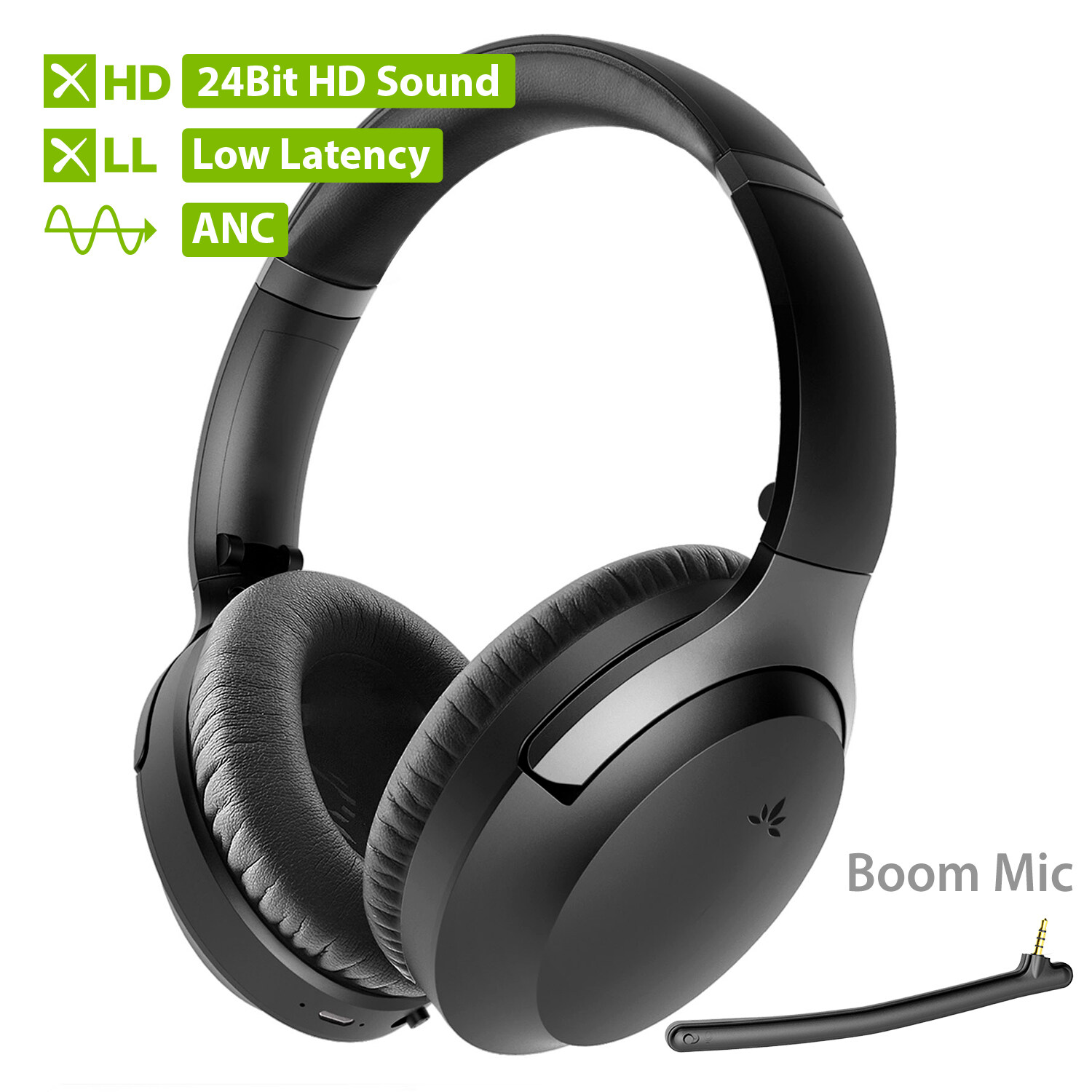 [2020] Avantree Aptx-Hd 24 Bit Hi-Fi Bluetooth 5.0 Active Noise Cancelling Headphones, Wireless Over Ear Anc Headset With Boom Mic For Clear Phone Calls, Aptx Low Latency For Tv Pc Computer - Aria Pro.