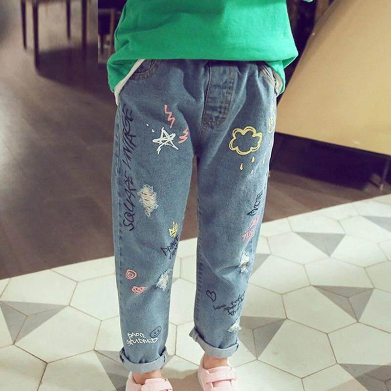 Giá bán IENENS 2-12 Tuổi Trẻ Em Cho Bé Gái Quần Jean Quần Áo Da Bò Quần Dài Trẻ Em Trẻ Sơ Sinh Gái Thẳng Rời Cổ Điển Denim quần áo Quần Áo Lót