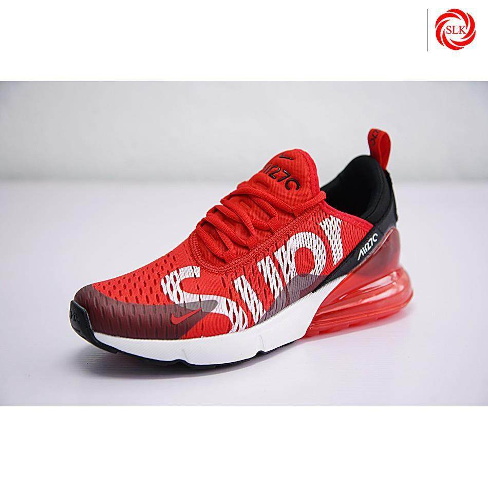 Nike Air Max 270 x Supreme Shoes Men Airmax 27c Running Shoes Sport Sneakers Red