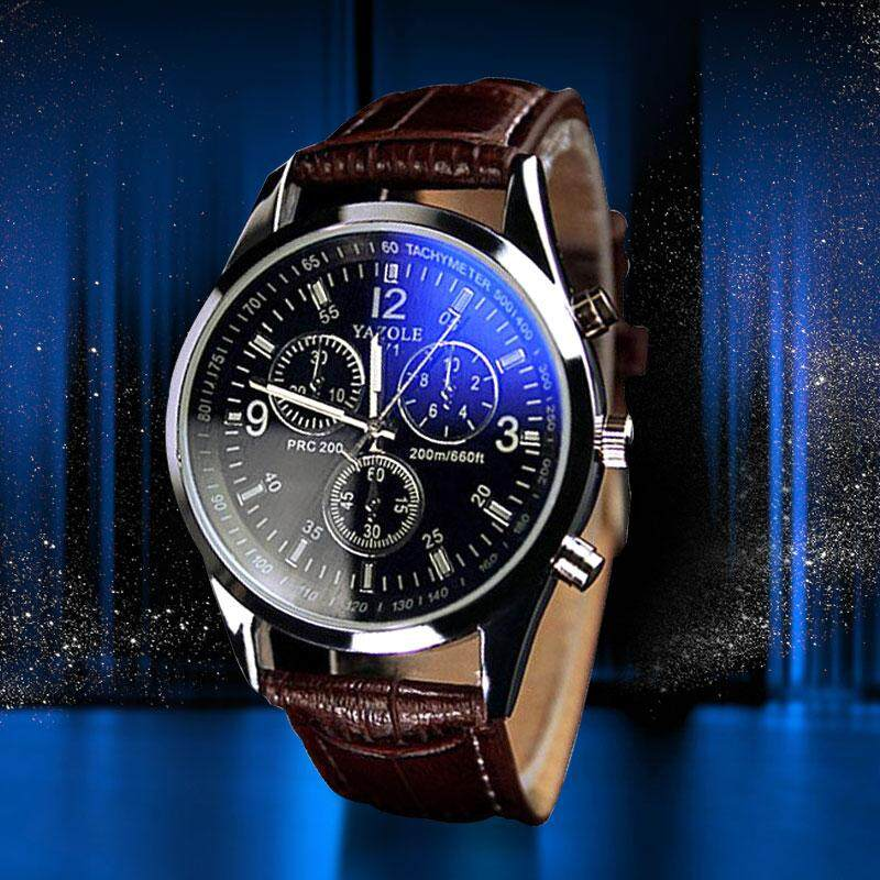 2019 business casual watch for men  Top Brand Luxury Clock Faux Leather Mens Analog Quartz Watches Blue Ray Wristwatch SLWMC01-N Malaysia