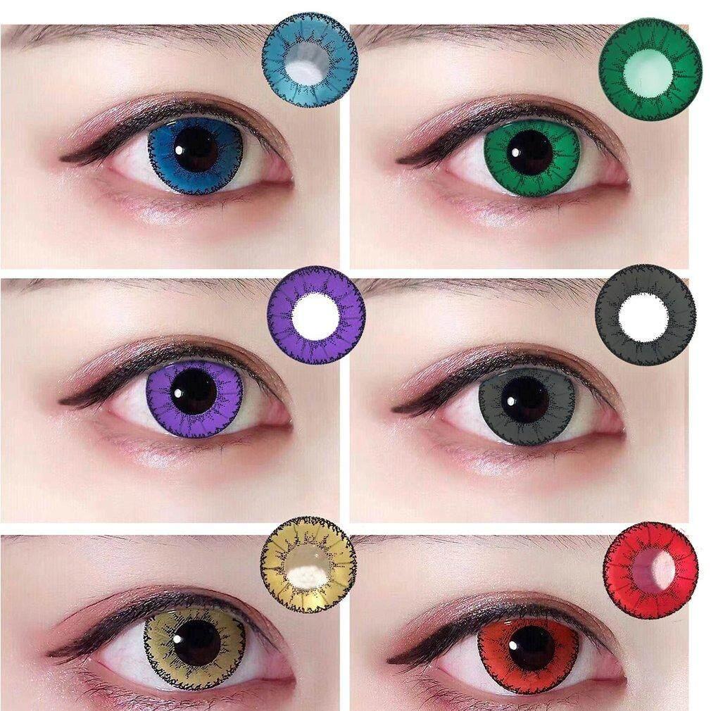 1 Pair Women Contacts Lenses Crazy Color Big Circle Eyes Makeup Beauty Lens
