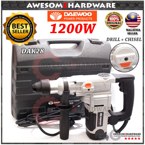 (HEAVY DUTY) DAEWOO DAK28 1200W 2 MODE ROTARY HAMMER DRILL WITH IMPACT CHISEL HACKING