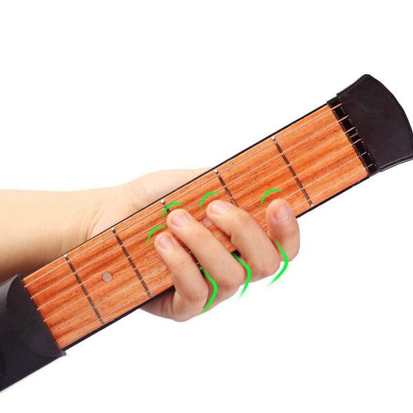Mô hình 6 dây 6 băn khoăn túi di động Guitar Cổ hợp âm huấn luyện viên Guitar công cụ thực hành cho người mới bắt đầu đen