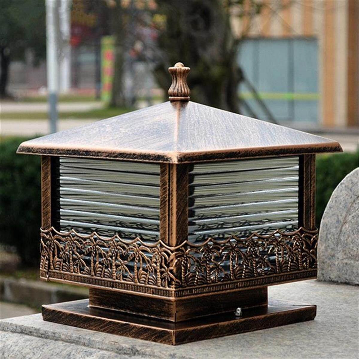 Vintage Pillar Light Garden Gate Post Lamp Glass Black Lantern Outdoor Light